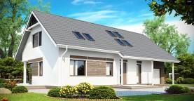 Комфортабельный дом со встроенным гаражом, угловой террасой и кабинетом на первом этаже.