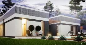 Проект дома в современном стиле с закрытой террасой
