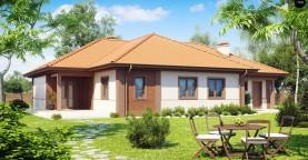 Проект комфортного одноэтажного дома с гаражом, с многоскатной крышей.