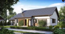 Проект одноэтажного дома с двускатной кровлей, с тремя спальнями и гаражом.