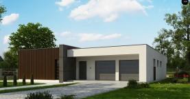 Подвариант одноэтажного дома Zx49 с гаражом для двух машин.