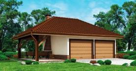 Проект красивого гаража для двух авто с боковой террасой
