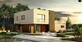 Комфортный современный дом с гаражом для двух авто и обширной террасой на втором этаже.