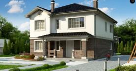 Проект двухэтажного дома в классическом стиле с дополнительной спальней на первом этаже.