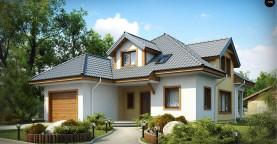 Проект дома с мансардой, с большим техническим помещением и дополнительной спальней на первом этаже.