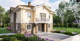 Элегантный двухэтажный классический дом с балконом
