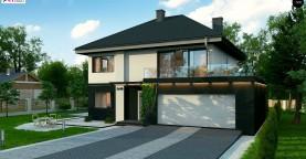 Просторный двухэтажный дом простой формы с террасой над гаражом.