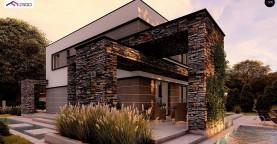 Проект двухэтажного просторного дома с плоской кровлей и панорамным остеклением.