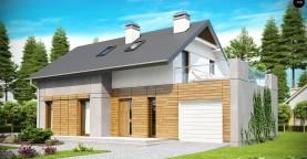 Удобный функциональный дом с террасой над гаражом, с современными элементами архитектуры.