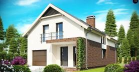 Дом в традиционном стиле с мансардой, со встроенным гаражом, подходящий для узкого участка.