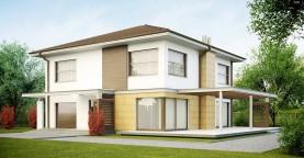 Двухэтажный дом простой формы со вторым светом над гостиной и встроенным гаражом.