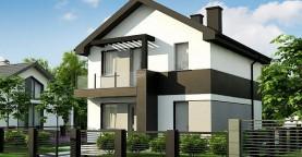 Вариант Z372 компактного двухэтажного дома для узких участков с плитами перекрытия