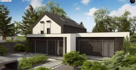Проект дома с мансардой в европейском стиле с гаражом на одно авто.