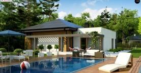 Современный дом с остроконечной крышей бунгало