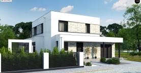 Проект двухэтажного дома с дополнительной комнатой на первом этаже и гаражом на один автомобиль.