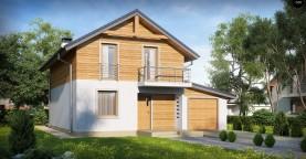 Проект двухэтажного дома с гаражом справа и с деревом на фасадах