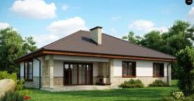 Одноэтажный дом с многоскатной кровлей, эркером и камином на террасе.