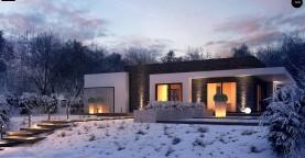 Проект современного одноэтажного дома с интересной планировкой и гаражом для одной машины.