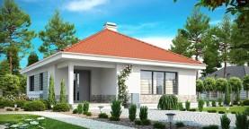 Проект компактного и функционального одноэтажного дома с фронтальным расположением дневной зоны.