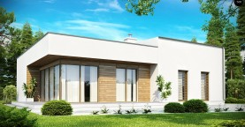 Современный функциональный дом с большой площадью остекления в гостиной.