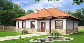 Компактный и удобный одноэтажный дом с многоскатной крышей.