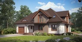 Версия проекта Z18 со встроенным гаражом с левой стороны дома