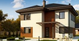 Вариант проекта Zz1 современного двухэтажного дома с плитами перекрытия