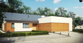Комфортный функциональный одноэтажный дом простой формы и с гаражом для двух авто.