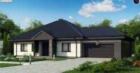 Проект одноэтажного дома с четырехскатной кровлей и гаражом на два автомобиля.