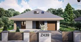 Дом с мансардой, огибающей крышей и гаражом на одну машину.
