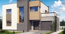 Вариант Zx59 двухэтажный дом в модернистского дизайна с гаражом и террасой на верхнем этаже, с плитами перекрытия