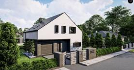 Современный дом с мансардой и двускатной крышей