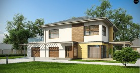 Версия проекта двухэтажного дома Zx2 c увеличенным гаражом