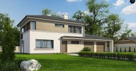 Двухэтажный дом с низкой кровлей с двухместным гаражом