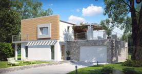 Оригинальный дом в современном стиле с обширной террасой над гаражом.