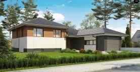 Стильный дом с мезонином и гаражом для одной машины