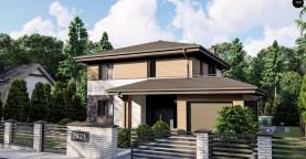 Современный двухэтажный проект дома Z421 с гаражом на одну машину