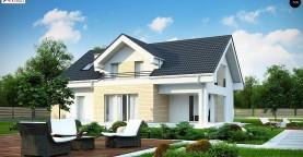 Проект мансардного дома в европейском стиле с балконом.