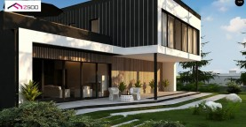 Проект просторного двухуровневого дома с оригинальным современным экстерьером.