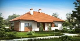 Традиционный одноэтажный дом с крытой террасой и оранжереей.