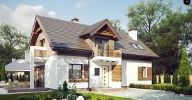 Проект функционального уютного дома с мансардными окнами и оригинальной отделкой фасадов.