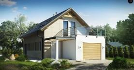 Дом простой формы с двускатной кровлей, с террасой над гаражом, также для узкого участка.