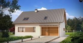 Аккуратный дом простой традиционной формы с гаражом и дополнительной спальней на первом этаже.