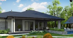 Одноэтажный дом с каменной облицовкой фасадов