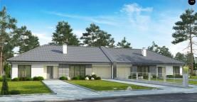 Проект дома для симметричной застройки на основе проекта Z123.