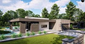 Современный одноэтажный дом с внешним камином