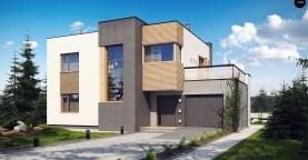 Двухэтажный дом в модернистского дизайна с гаражом и террасой на верхнем этаже.