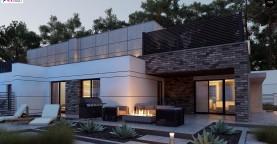 Современный большой дом с плоской крышей