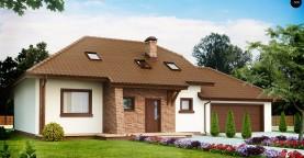 Проект комфортного дома с большим гаражом и дополнительной спальней на первом этаже.