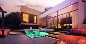 Проект современного дома с плоской кровлей и подземным гаражом.